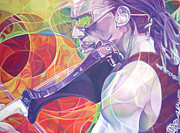 Dave Matthews Drawings - Boyd Tinsley and Circles by Joshua Morton