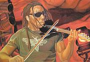 Violin Drawings - Boyd Tinsley at Red Rocks by Joshua Morton