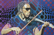 Violin Drawings Prints - Boyd Tinsley Pop-Op Series Print by Joshua Morton