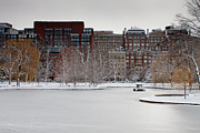 Urban Winter Scenes Prints - Boylston Street Streetscape and frozen Duck Pond Boston Print by Thomas Marchessault