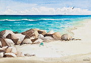 Beach Scene Painting Originals - Boynton Beach Inlet Watercolor by Michelle Wiarda