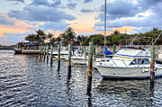 River Scenes Prints - Boynton Inlet at Sunset Print by Debra and Dave Vanderlaan