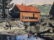 Covered Bridge Mixed Media Prints - Boys and Covered Bridge Print by Joseph Juvenal
