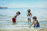 Children At Beach Posters - Boys At The Beach Poster by Renee Forth Fukumoto