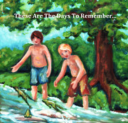 Arkansas Paintings - Boys Catchin Frogs by Marla Hoover