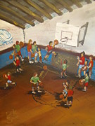 Basketball Paintings - Boys Club Series-Basketball by Dale Smith