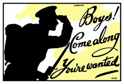 Wwi Propaganda Posters - Boys Come Along Youre Wanted Poster by War Is Hell Store