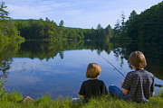 Two People Posters - Boys Fishing Poster by Diane Diederich