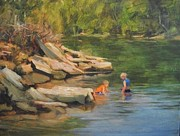 Playing Painting Originals - Boys Playing in the Creek by Margaret Aycock