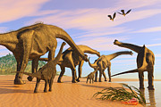 Seashore Digital Art Metal Prints - Brachiosaurus Beach Metal Print by Corey Ford