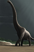 Prehistoric Digital Art - Brachiosaurus In A Prehistoric by Michele Dessi