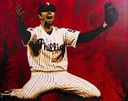 World Series Painting Framed Prints - Brad Lidge  Framed Print by Bobby Zeik