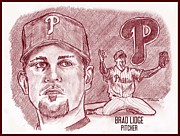 Baseball. Philadelphia Phillies Drawings - Brad Lidge by Chris  DelVecchio