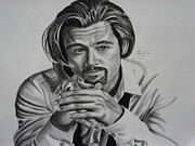 Pitt Drawings Posters - Brad Pitt Poster by Christopher Kyle