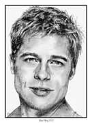 Pitt Drawings Posters - Brad Pitt in 2006 Poster by J McCombie