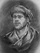 Tibet Drawings Framed Prints - Brad Pitt - pencils portrait Framed Print by Lily April