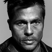 Pitt Framed Prints - Brad Pitt Portrait Framed Print by Sanely Great