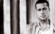 Pitt Framed Prints - Brad Pitt Poster Framed Print by Sanely Great