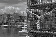 Rockport Art - Bradley Wharf in Black and White by Joann Vitali