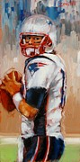 New England Patriots Posters - Brady Boy Poster by Laura Lee Zanghetti