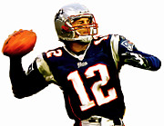 Football Drawings Prints - Brady  Tom Brady  Print by Iconic Images Art Gallery David Pucciarelli