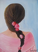 Southern Plantation Paintings - Braided Hair by Glenda Barrett