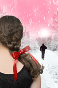 Winter Prints Posters - Braided Hair With Red Ribbon Poster by Christopher Elwell and Amanda Haselock