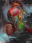 Outer Space Paintings - Brain Bleeding Planet by Mike Cicirelli
