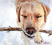 Dog With Stick Paintings - Brain Freeze by Molly Poole