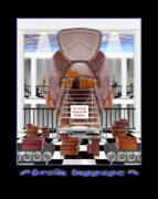 Surrealism Digital Art Metal Prints - Brain Luggage Metal Print by Mike McGlothlen