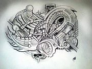 Steampunk Drawings - Brain Motion Sector 1 by Chris Gill