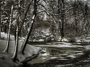 Winter Storm Metal Prints - Brainards Bridge After a Snow Storm 4 Metal Print by Thomas Young