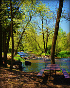 City Scapes Greeting Cards Prints - Brainards Bridge Park Waupaca WI Print by Carol Toepke