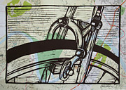 Linocut Prints - Brake on Map Print by William Cauthern