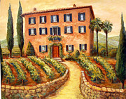 Villa Paintings - Bramasole Vineyard by Joanne Morris