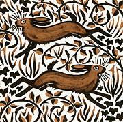 Color Symbolism Painting Prints - Bramble Hares Print by Nat Morley