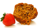 Shutterstock Prints - Bran Muffin and Strawberry Print by Dennis Beck