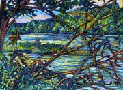 Branches Pastels Prints - Brances Over the New River Print by Kendall Kessler