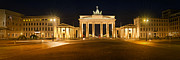 Night Lamp Framed Prints - Brandenburg Gate Panoramic Framed Print by Melanie Viola