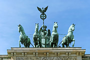 Historic Statue Mixed Media Posters - Brandenburg Gate Quadriga Berlin Poster by Design Windmill