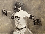Giants Painting Posters - Brandon Crawford Poster by Darren Kerr