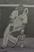 Baseball Glove Drawings - Brandon Phillips by Christy Brammer
