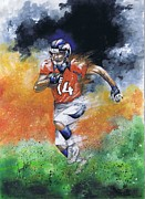 Denver Broncos Painting Prints - Brandon Stokley Print by Jerry Bates