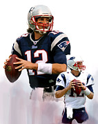 Quarterback Drawings - Brandy II  Tom Brady by Iconic Images Art Gallery David Pucciarelli