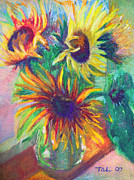 Sunflower Decor Prints - Brandys Sunflowers - still life on windowsill Print by Talya Johnson