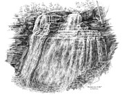Falls Drawings - Brandywine Falls - Cuyahoga Valley National Park by Kelli Swan