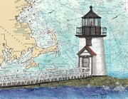 Map Art Painting Posters - Brant Pt Lighthouse MA Nautical Chart Map Art Poster by Cathy Peek
