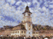 Crowds  Digital Art Prints - Brasov City Hall Print by Jeff Kolker