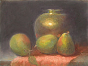 Drapery Pastels Prints - Brass and Pears Print by Julie Mayser