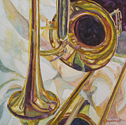 Trumpet Painting Posters - Brass at Rest Poster by Jenny Armitage